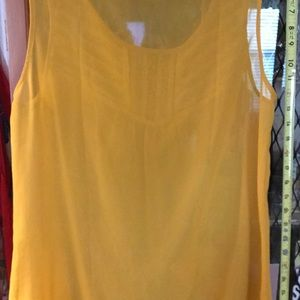 LOFT Tops - Yellow chiffon sleeveless top